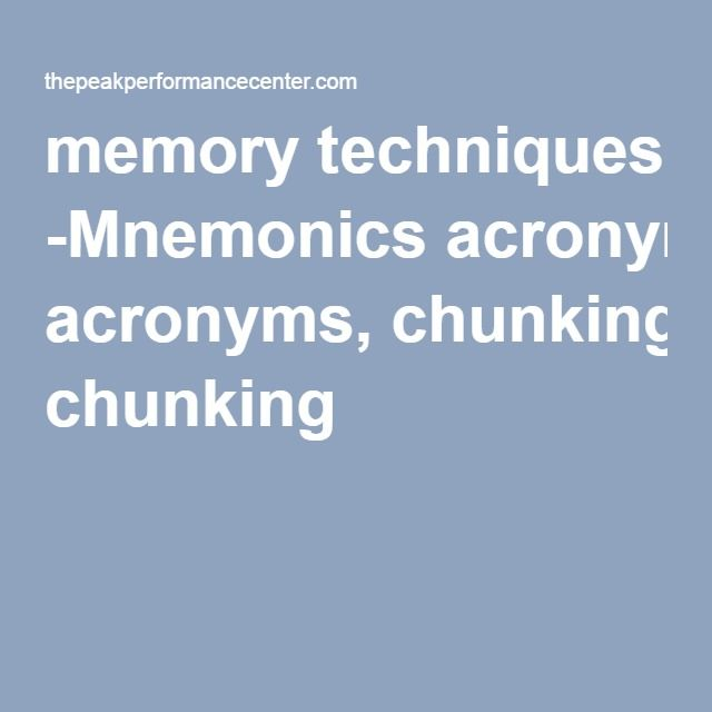 an example of mnemonic chunking is