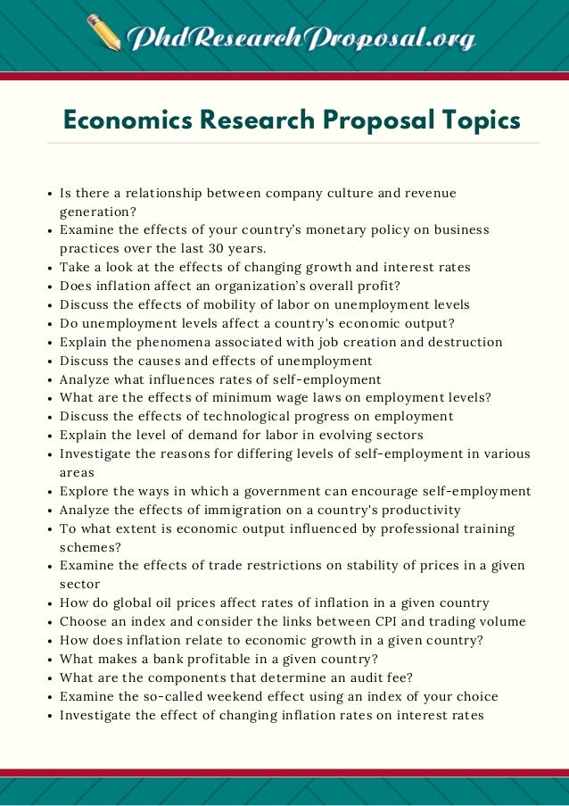 research proposal for economics example