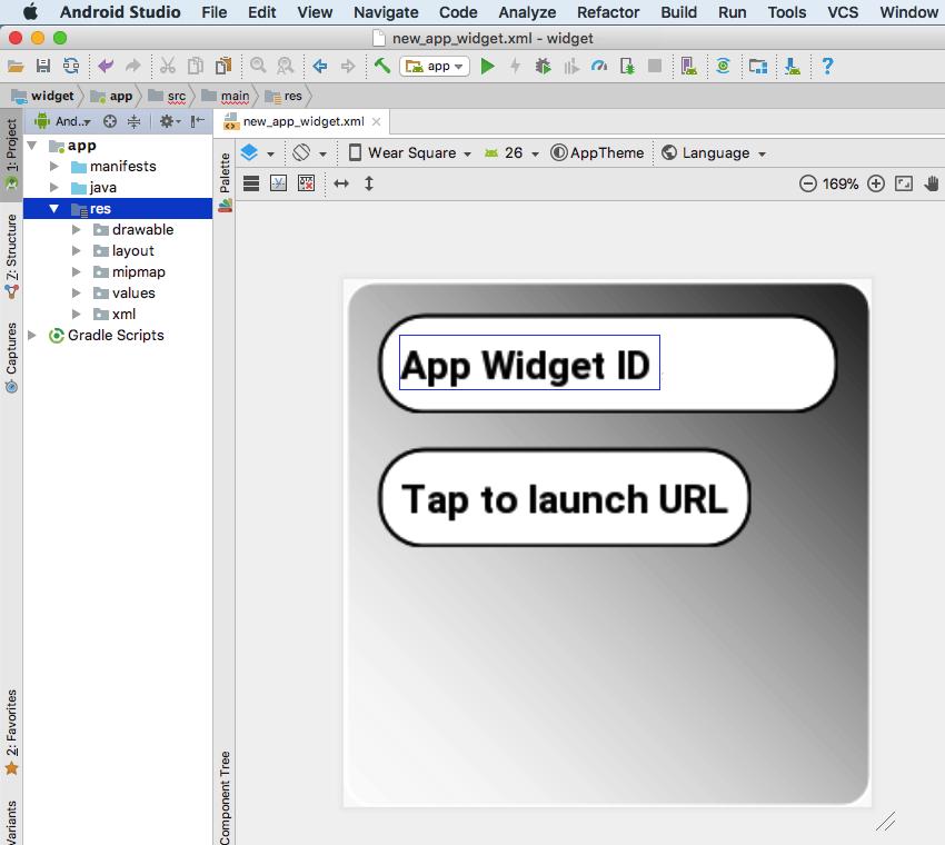 source code widget android example