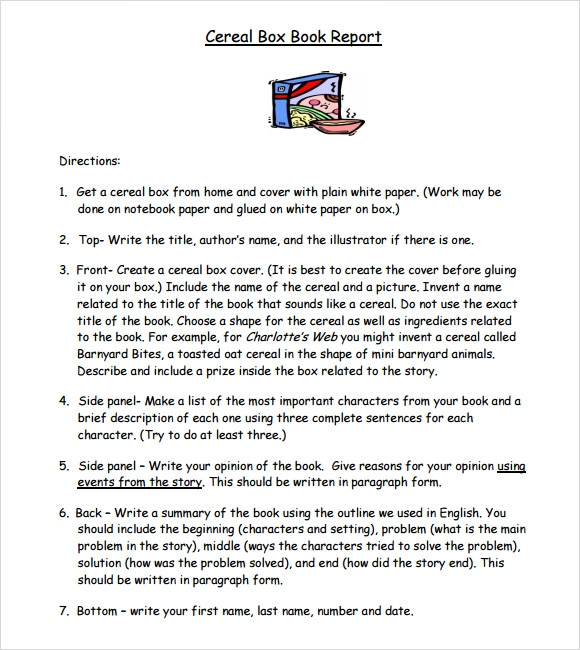 how to write a book report example