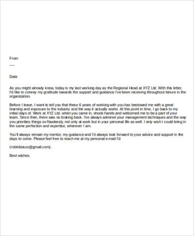 example of farewell email to colleagues