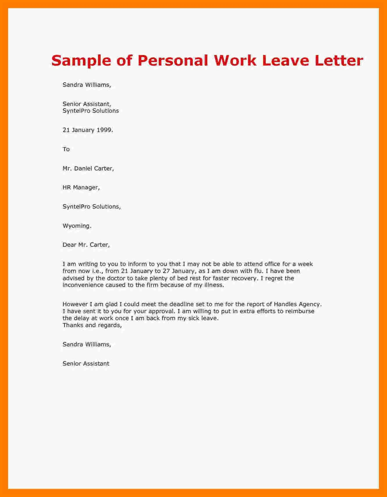 letter example for a leave of absence