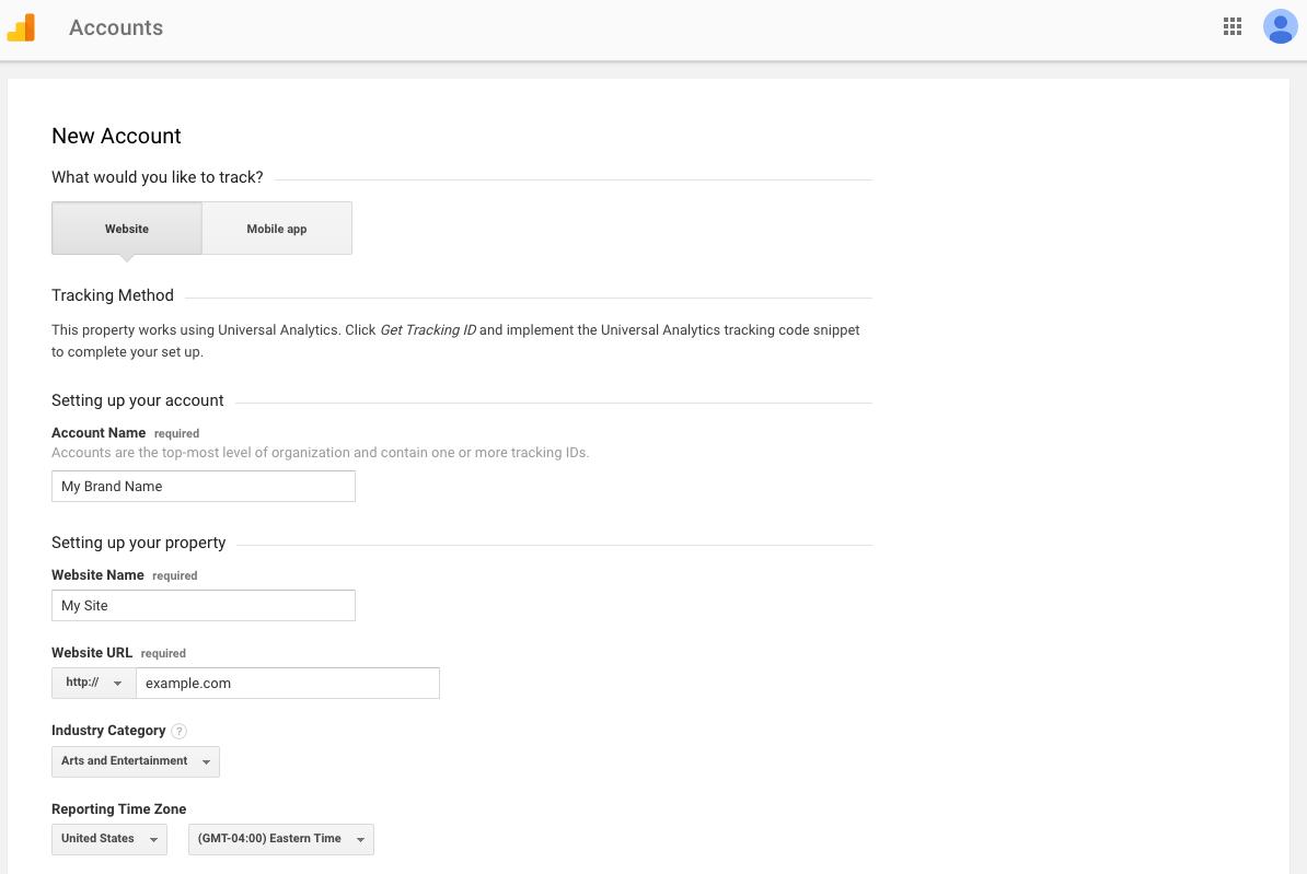 google analytics account name example