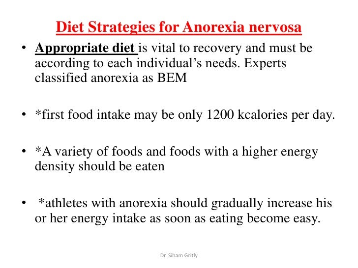 anorexia inpatient meal plan example