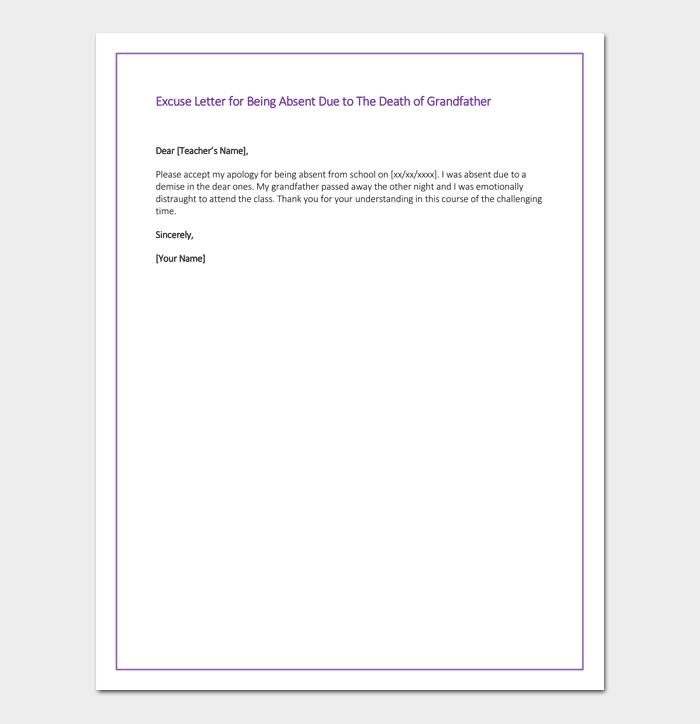 example of excuse letter for not attending class