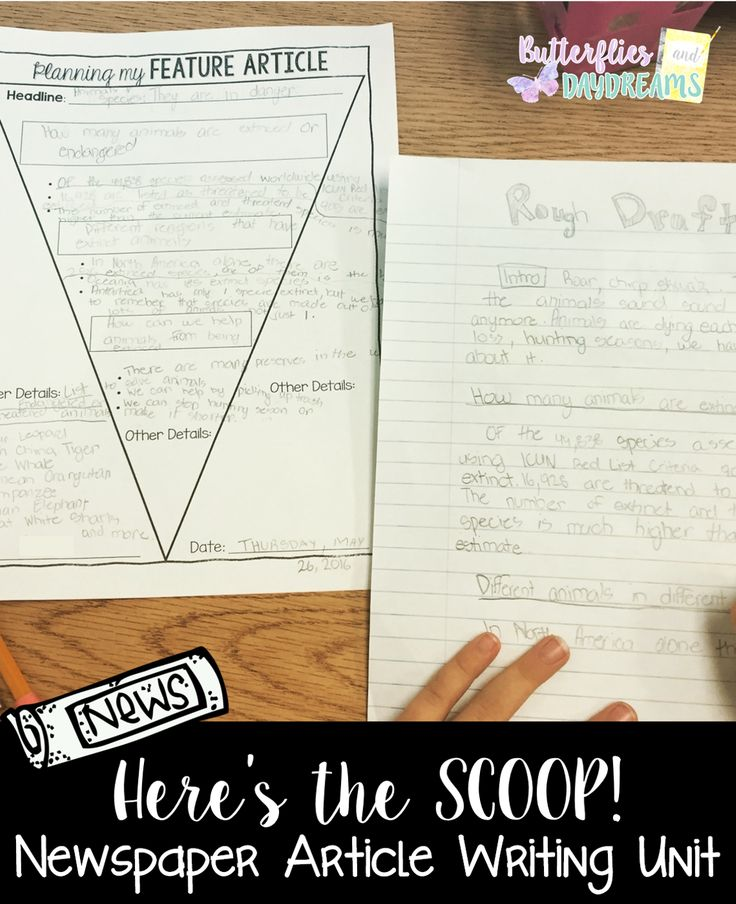 example of newspaper article writing for grade 6