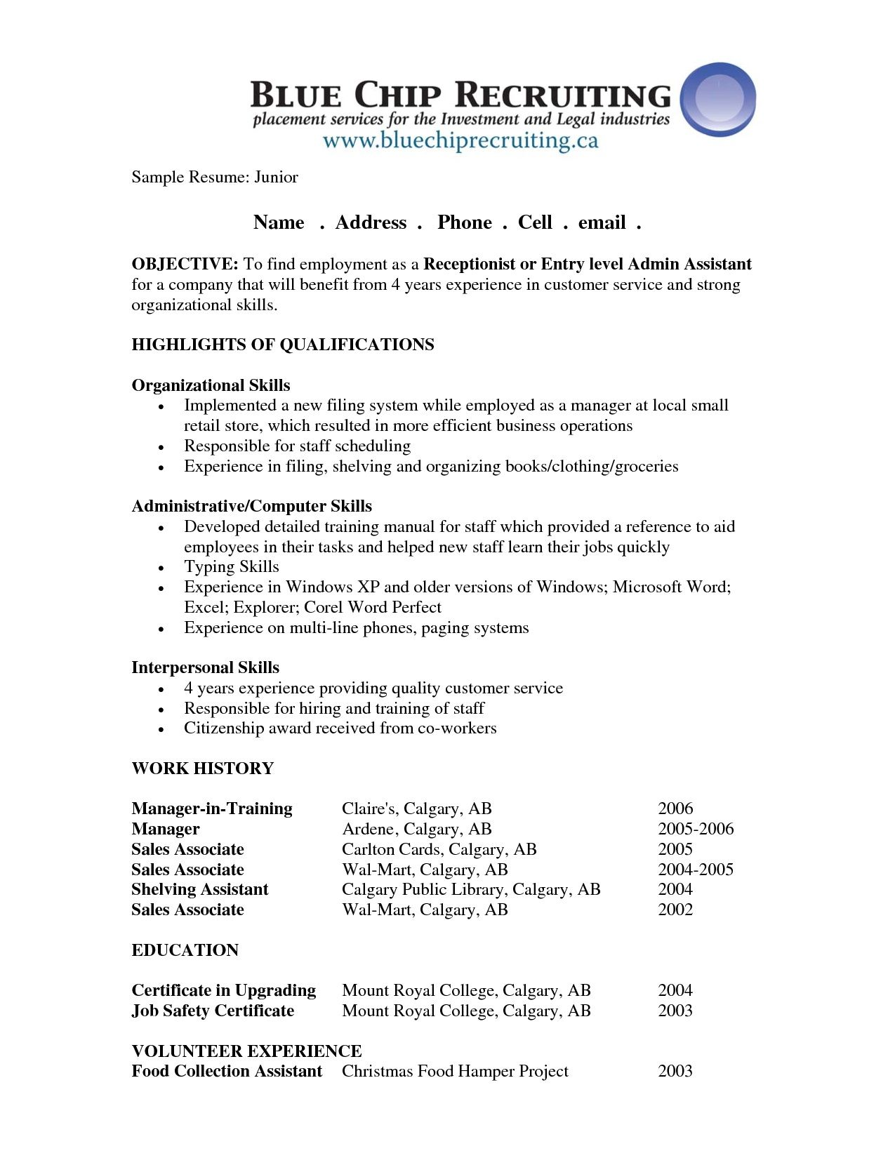 example of a teenage career objective resume