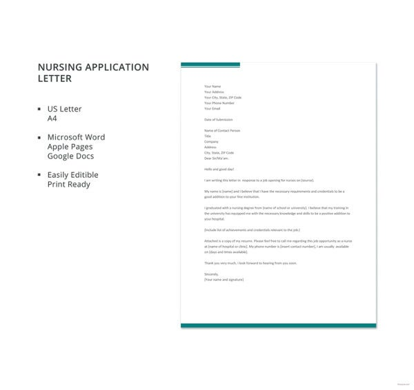 example of cover letter for nursing job application