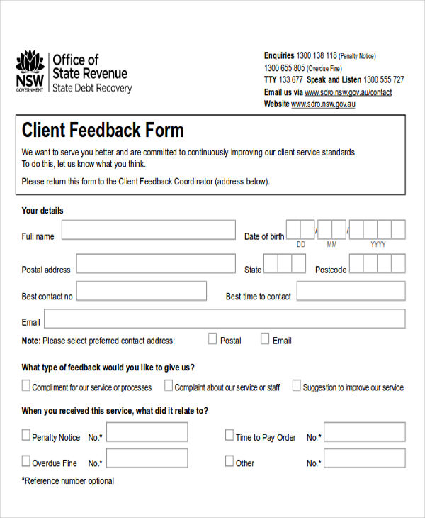 example of feedback for customer service