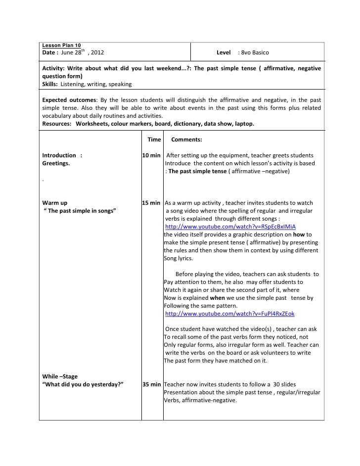 example of lesson plan in english secondary