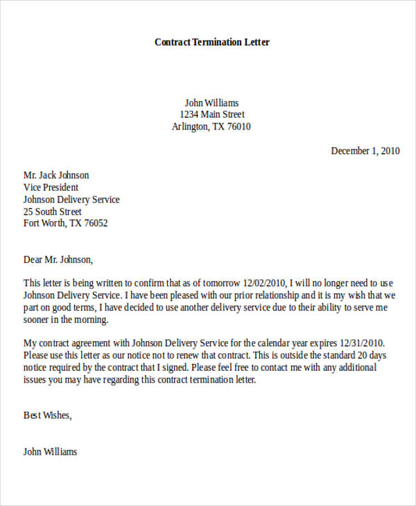 example of letter cancelling a contract