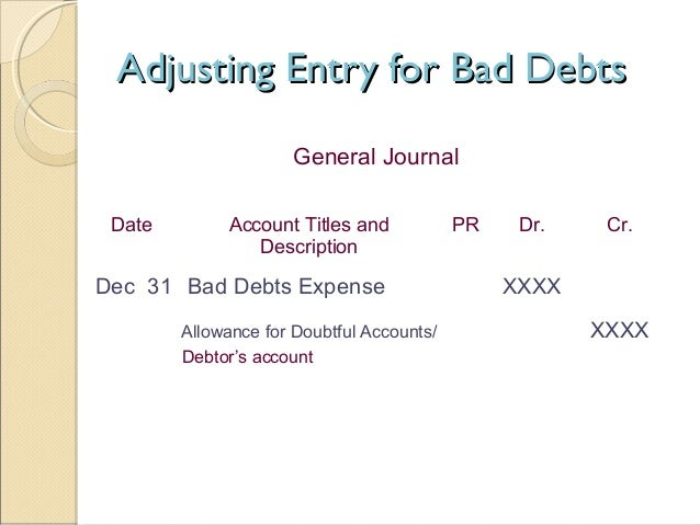 journal entry example for bad debt expense