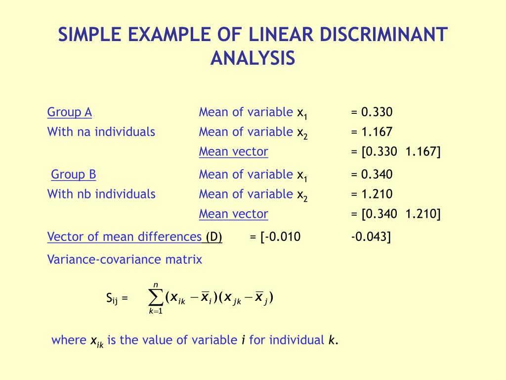 linear discriminant analysis numerical example