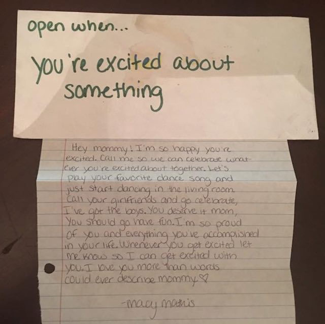 open when you re happy letter example