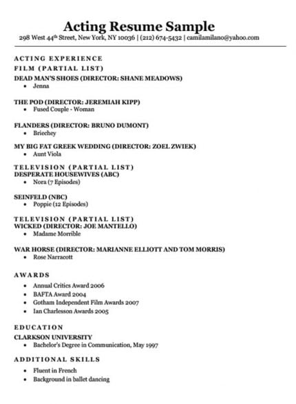 resume to get an acting agent example